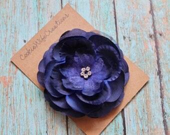 Navy Blue Multi-Layered Flower Hair Clip