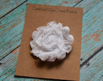 Shabby White Lace Flower Hair Clip