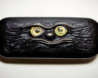 Black Clam Shell Leather Hard Case for Eyeglass Sunglasses Elder Glasses. Wicked Fashion