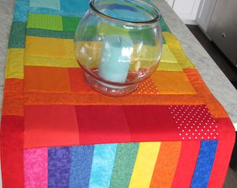 "Rainbow Table Runner Reversible 62"" Primary Colors Table Runner Bright Summer Table Runner One of a Kind strip pieced runner dresser scarf"