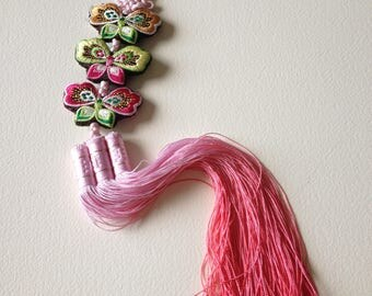 Asian Embroidered Butterfly Hanging Decoration Pink Green Yellow