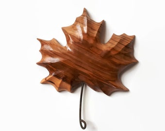 Maple leaf wood carving handmade rustic home decor wall decor gift from Canada gift for him housewarming gift wood gift Canadian