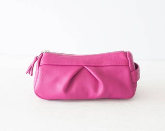 Accessory bag in hot pink leather, cosmetic case makeup bag travel case leather storage case - Estia Bag