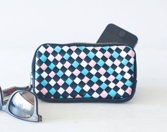 Leather black handwoven zipper purse, phone case zipper phone case money bag iphone 7 zipper purse zip purse - The Antheia Zipper pouch