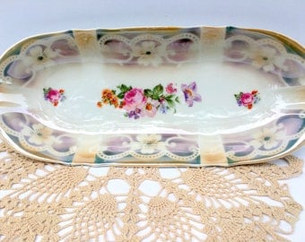 Vintage Bavarian Porcelain Large Relish/Vanity Tray, Made in Germany,1920s,Lusterware,Floral, Indented Bands Design,Dining and Serving