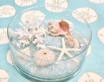 Beach Decor - Glass Bowl with Natural Seashells, Coral and Starfish on Glass Pebbles - coastal sea shells shells star fish hostess gift
