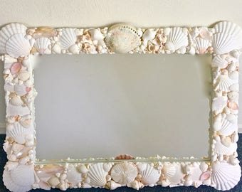Seashell Mirror  - beach decor coastal nautical sea shell seashells sea shells nautical