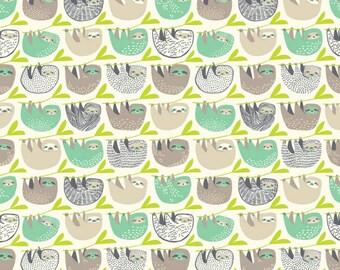 Blend Fabrics - Rainforest Slumber Collection - Slumber of Sloths in Taupe
