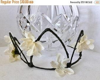 ON SALE Cream Flower Crown, Apple Blossom, Fabric Flower Wreath, Hair Accessory, Circlet, Wedding, Fairy Crown, Bridal Party, Halloween