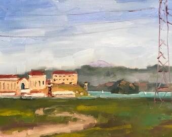 SAN QUENTIN PRISON - 8 x 12 - Greenbrae, Mill Valley - Plein Air - Original Oil Painting - California Landscape - Home Decor - Sailboats