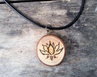 Wood Burned Lotus Flower Pendant