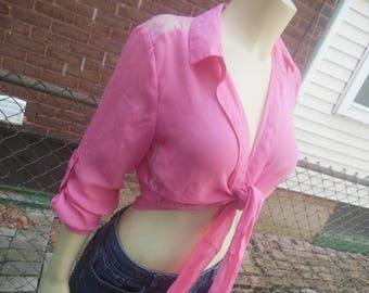 WHOLESALE / blouse top / 90s vintage / semi crop / tie front / back shoulder side lace panels / 36b 22 length / medium fit / savannahwillow