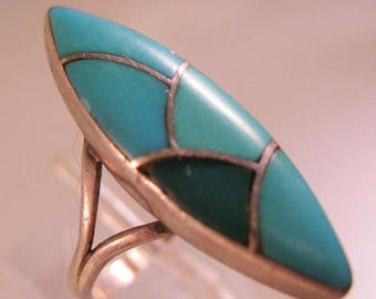 SHIPS 6/26 w/FREE Jewelry Zuni Turquoise Inlaid Sterling Silver Ring Size 5 Vintage Native American Jewelry Jewellery