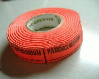 Roll of Hospital Patient Labels. Pancuronium Muscle Relaxant Stickers. Rx Labels.