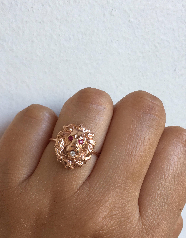 Löwen Ring Ring Gold Lion Löwe Jahrgang Löwe Ring antike