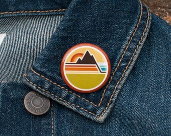 MOUNTAIN PINBACK BUTTON : Backpack Pins, Backpack Pinback, Backpack Buttons, Path Pinback, Adventure Pinback, Explorer Buttons