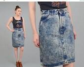 Vintage 80s Acid Wash Skirt - Denim Skirt - High Waist Skirt - Tight Fitted Body Con Denim Skirt - Small Medium S M 26 27