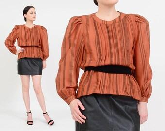 Vintage 80s Brown Striped Blouse | Peplum Waist | Velvet Belt | Pleated Blouse | Long Sleeve | Puffy Sleeves | Black Striped Top | size S M