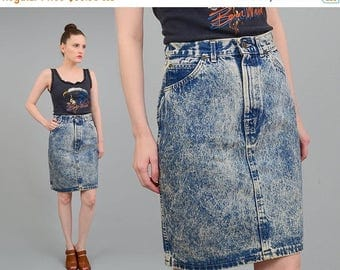 Vintage 80s Acid Wash Skirt - Denim Skirt - High Waist Skirt - Tight Fitted Body Con Denim Skirt - Small Medium S M 26 27