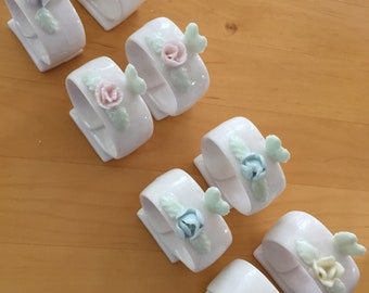 Set of 8 Vintage Porcelain Napkin Rings - Flower FloralDesign - Ardalt Japan