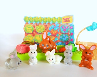 Vintage Littlest Pet Shop Mommy and Baby Bunnies Playset by Kenner 1992 Retro 90s Toy