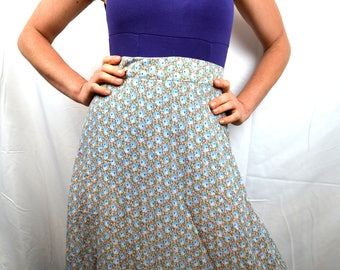 Vintage 70s Floral Foxy Lady Maxi Skirt