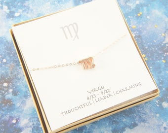 rose gold zodiac Virgo necklace, birthday gift, custom personalized, gift for women girl, minimalist, simple necklace, layered