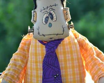 Frankenstein Doll, Handmade Doll Clothes, Beanbag Body, Frankenstein, Painted face,