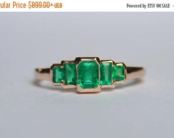 SALE Emerald Ring, Five Stone Emerald Ring, Emerald Baguette Ring, 14 Kt Rose Gold Ring, Rose Gold Emerald Ring, Colombian Emerald Ring