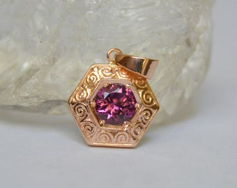 Rose Gold Hexagon Pendant Engraved, pink hexagon pendant, antique rose gold necklace, pink gemstone necklace, halo pendant, spinel pendant