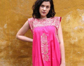 Pink with antique gold embroidery sleeveless Mexican Wedding Dress