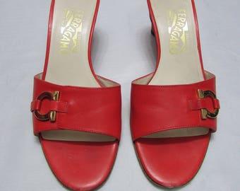 Vintage Salvatore Ferragamo Red Leather Slides Size 6 B, Ferragamo Made in Italy Shoes, Ferragamo Red Leather Sandals, Ferragamo Heels
