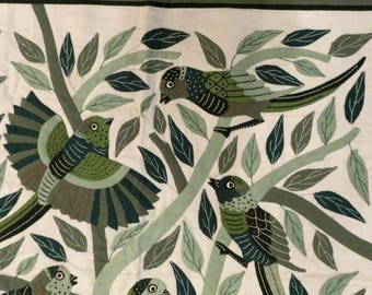 """VINTAGE BIRDS wall hanging folk ART,hand stitched,37""""x35"""" handmade,fine condition,olive,white,green,rust,celadon,navy,applique,embroidery"""