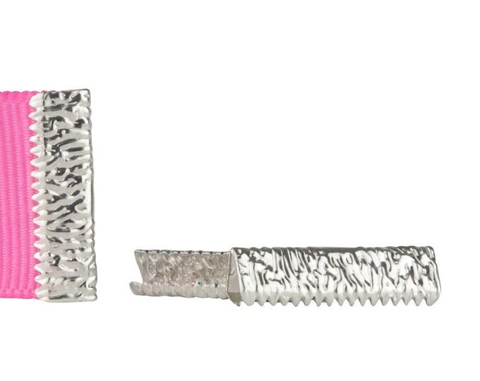 50pcs. 22mm or 7/8 inch Platinum SIlver No Loop Ribbon Clamp End Crimps - Artisan Series