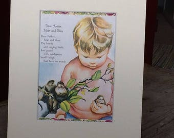 a boy with baby birds vintage illustration in a new mat