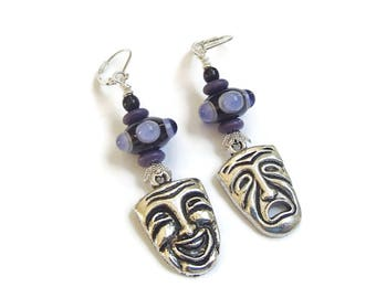 Greek Mask Earrings Tragedy and Comedy Earrings Thespian Acting Lampwork Bumpy Beads Purple and Black
