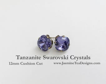 Tanzanite Swarovski Earrings, 12mm Cushion Cut Swarovski Crystals, Set In Vintage Patina Antique Brass, Post Setting, Stud Earrings