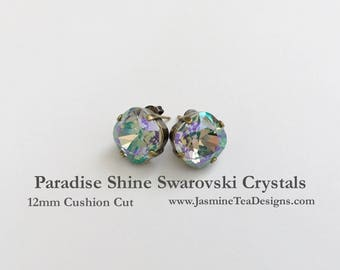 Paradise Shine Swarovski Earrings, 12mm Cushion Cut Swarovski Crystals, Set In Vintage Patina Antique Brass, Post Setting, Stud Earrings