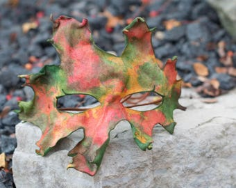 Autumn Red Oak Leaf Split Leather Masquerade Mask