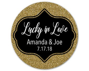 Personalized Wedding Stickers - Lucky in Love Labels - Glitter Stickers - Gold Labels - Silver Stickers - Wedding Favor Stickers - Bling