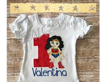 Personalized Superhero shirt - Wonder Woman Applique Shirt with number- Wonder Woman birthday shirt Personalized shirt- Wonder Woman shirt
