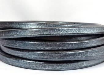 Regaliz Licorice Leather - Metallic Pewter - RM15 - Choose Your Length