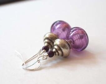 SALE Purple Earrings, Hollow Glass Earrings, Beaded Earrings, Lampwork Glass Earrings, Unique Earrings, Light Weight Earrings