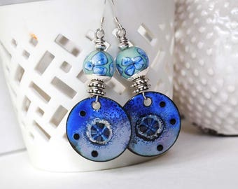 Blue Earrings, Artisan Enamel Earrings, Flower Earrings, Lampwork Glass Bead Earrings, Unique Earrings,