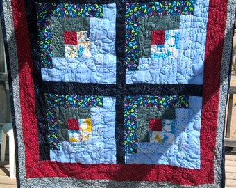 Baby boy log cabin quilt