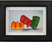 """Gummy Threesome - 6x8"""" Framed Art Print - from original oil painting, realism, kitsch, sex, fun, silly, humor, sassy, still life, playful"""