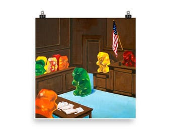 Gummy Trial - art print from original painting, realism, kitsch, law, humor, lawyer, court, judge, nostalgia, fun, silly, justice, pop art