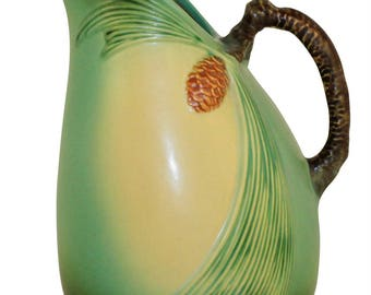 Roseville Pottery Pine Cone Green Pitcher 415-9