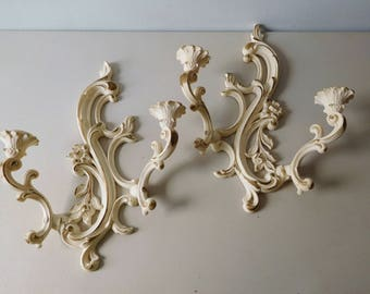 Vintage 1960 Syroco wall sconce candle holders shabby style