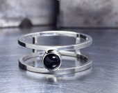 RESERVED FOR GAIL: Sterling Silver and Onyx Double Band Ring